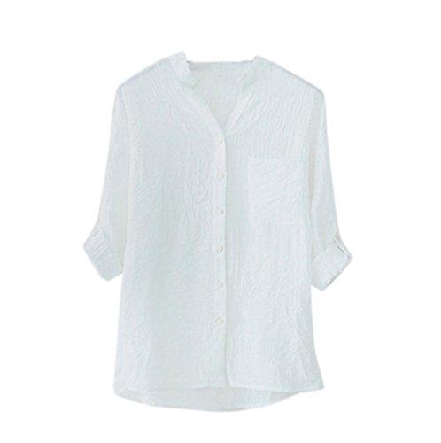 Moonuy Frauen 3/4 Ärmel Shirt, Frauen Baumwoll-Shirt Leinen Langarm-Shirt Elegant Slim Bluse Casual Loose Bluse Button Down Tops Chic Tops Vintage Tops Freizeit T-Shirt (M, Weiß) (Leinen-shirt Weiße)