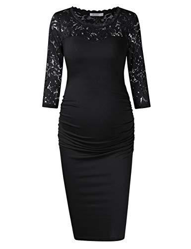 KOJOOIN Damen Umstandskleid Spitzenkleid Schwangerschafts Kleid Lace Party Ball Umstandskleid