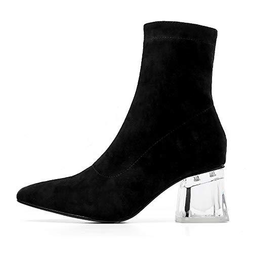 992c6543ef391 TPulling Bottes femmes Hiver Mode Femmes léopard Cristal épais Talons Hauts  Zip Talon épais Pointu Chaussures