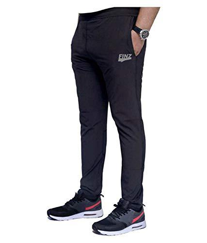 Finz Men's Cotton Track Pants,Joggers, Night Wear Pajama,Sports Gym,Lower with Zip Pockets Black - 30