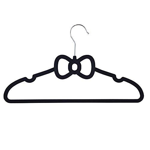 JVL Neuheit dünn Velvet Touch platzsparend rutschfest Kleiderbügel schwarz blau pink, schwarz, Bow Tie