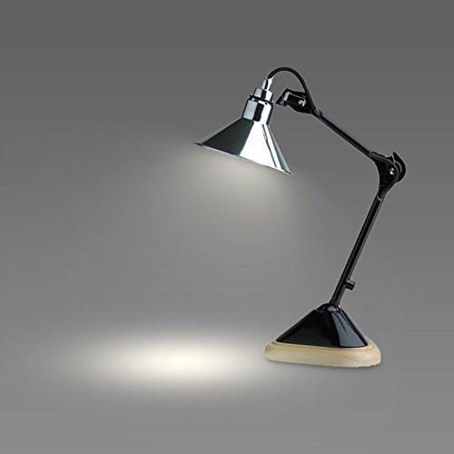 XXN-Creativa Americana lampada di lavoro lampada da tavolo moderna decorazione minimalista di lettura orientabile retrò base in legno lampada,Chrome