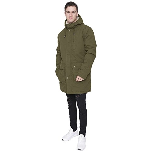 Mens Heavy Weight High Quality Cotton Parka Winter Coat Fishtail Long Jacket M Khaki