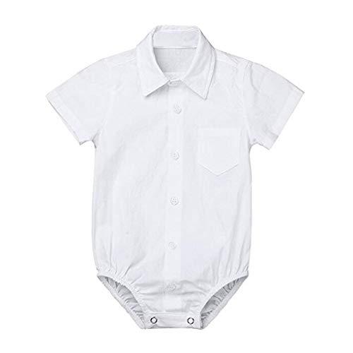Knowin-baby body Formelle Hemden Gentleman Romper Bodysuit Hochzeitsfest Outfits/Langarmbody Junge/Jersey-Qualität/weiß Baby Einfarbig Kurzarmhemd Elegant klassisch T-Shirt