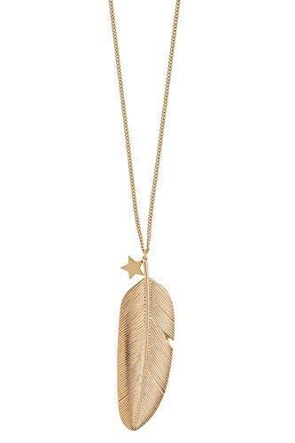 Tom Shot - Goldkette mit Federanhänger und Stern-Charm
