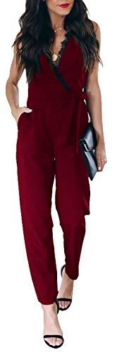 Longwu Damen Jumpsuit mit tiefem V-Ausschnitt, Spitze, ärmellos, hohe Taille, Gürtel mit Taschen - Rot - 42