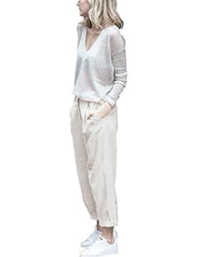 PAOLIAN Pantalones para Mujer Verano 2018 Casual Negocios Pantalones de Vestir Sólido Fiesta Cintura Alta Palazzo...