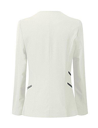 LookbookStore Damen Drapierter Langärmliger Blazer mit Vorne Offnung Seitentasche Einfarbig Weiß