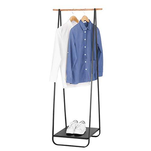 WOLTU Kleiderständer Garderobenständer Kleiderstange mit Metallablagen für Schuhe, Schwarz, ca. 54x45x141cm(BxTxH) SR0077