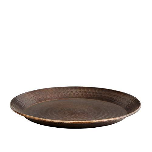 Madam Stoltz Tablett gehämmert in Kupfer, kupferfarbener Metallic Look, Durchmesser 36 cm -Orientalisch Marokkanisch Orient Rund -