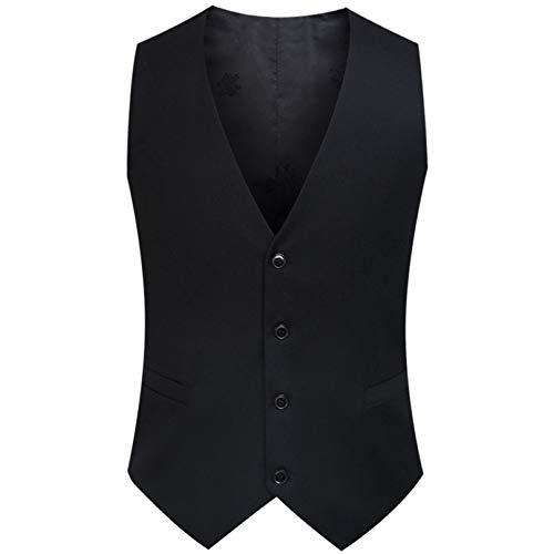 FCBDXN Herren Kleidung Anzug Westen Gilets Mantel Hochzeit Weste Gilet Mäntel Formale Tooling Weste Jacke Casual Oberbekleidung,Black-XXXXL