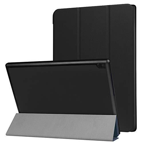 Robustrion Lenovo Tab 4 10 Smart Trifold Hard Back Flip Stand Case (Black)