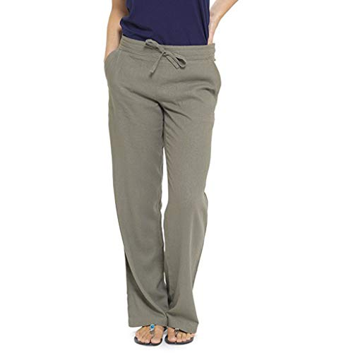 Übergroßer Leinen-Hose Frauen Casual Strandhosen Pants Loose Leicht Bequem Atmungsaktiv Hose Pyjamahosen -