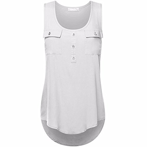 ZIYOU Blusen Ärmellos Damen, Frauen Casual Vest/Mode Tank Tops T-Shirts mit Tasche Einfarbig, S~5XL Größe (Weiß, M) (Weißes Ärmelloses Tank-top Shirt)
