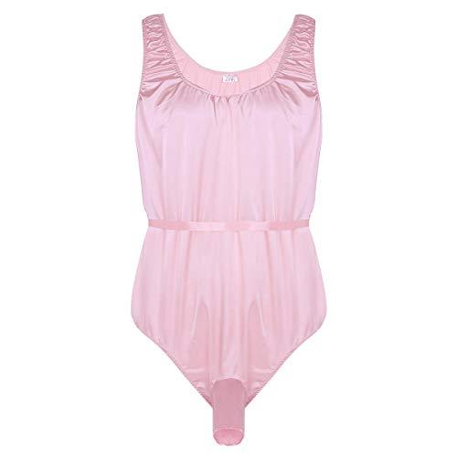 dPois Herren Satin Bodysuit Unterhemd mit Penis Loch und Schärpe Nachtwäsche Dessous Einteiler Body Ärmellos Sexy Rosa Medium