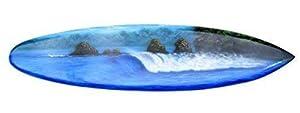 Surfboard 100cm mit Brandung oder Wellen Motiv Deko Surfbrett aus Hartholz im...