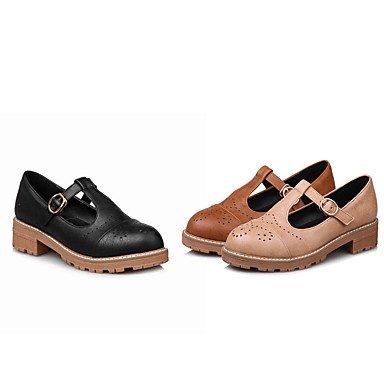 Chaussures femmes talons Printemps Été Automne Bureau similicuir Confort & Carrière Partie & décontracté Soirée Talon Beige Marron Noir Boucle d'autres Brown