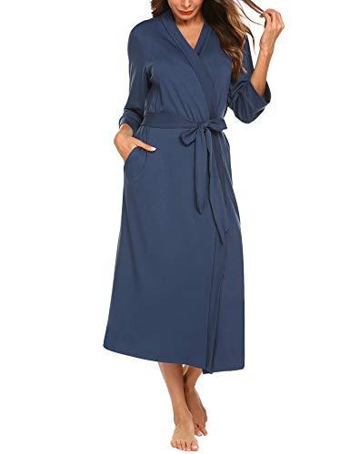 Baumwolle Satin Robe (Unibelle Damen Morgenmantel Dünn aus Baumwolle Kimono Satin Kurz Robe Bademantel Nachtwäsche Sleepwear V Ausschnitt mit Gürtel Navyblau M)
