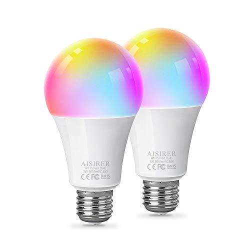 Lampadina Smart Funziona con Alexa e Google Assistant, AISIRER LED Lampadina Intelligente Luce WiFi E27 2700 K RGB 7 W 580 LM Dimmerabile, Controllo Tramite App, 2 Pezzi