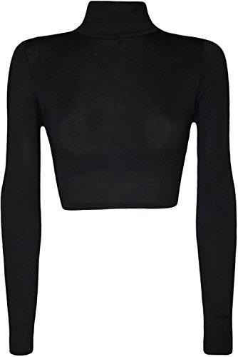 Mix lot Damen Rollkragen Crop Top Basic T-Shirt Plain Polo Short Stretch Sexy Top Größe 36-42 (S/M 36-38, (Kim Kostüm Possible)