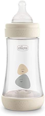 Chicco Perfect 5 Biberon Anticolica, Unisex, 240 ml, Silicone, 2 Fori, Beige