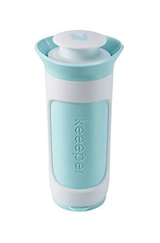 keeeper Puderzuckerstreuer mit Dosierfunktion und Auslaufschutz, BPA-freier Kunststoff, 8,5 x 7,5 x 15,5 cm, Tabea, Mintgrün/Weiß