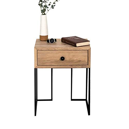 HYLH Side Tables,Tables Mid-Century Style Walnut Colour Bedside Table Nightstand End Table with Black Metal Frame (Color : Wood Color, Size : 40 * 35 * 55cm) -