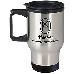 Taza de viaje Mannaz Runa, taza de regalo con diseño de runa nórdica