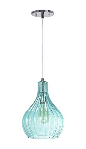 RUCHUFT Einstellbare 1 Licht Mini Pendelleuchte Deckenleuchte, Transitional Design in Chrom-Finish, Surf Green Glass Shade, 8 5/8