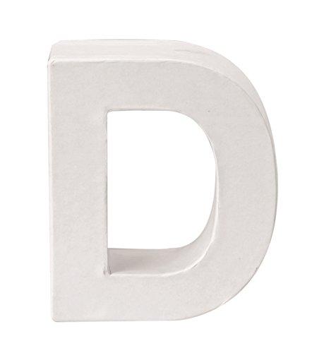 GLOREX Papp-Buchstabe D, Fsc Mix, Weiß, 10 x 9 x 3,5 cm (Buchstaben Basteln D)