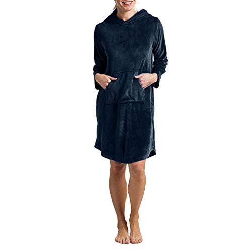 Amphia - Damen Schlafanzug - Silver Fox/Solide/Dick/Kapuzen - Nachthemd - Frauen Silver Fox Fleece Solid Color verdicken mit Kapuze Tasche lässige (Silver Fox Kostüm)