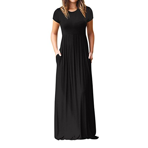 Halijack Women Dresses, Womens Summer Short Sleeve Floor Length Dress Fasion O -Neck Loose Casual Pleated Maxi Dress Party Beach Dress Sundresss (S, Black)