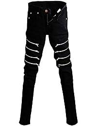 Pantalon Homme en Jean Punk Extensible Skinny Denim Style Simple Noir  Pantalon en Denim avec Fermeture 358159c5199a