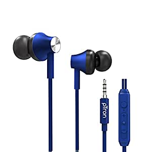 pTron Pride Evo HBE (High Bass Earphones) in-Ear Wired Headphones with in-line Mic, 10mm Powerful Driver for Hi-Fi Audio, Noise Cancelling Headset with 1.2m Tangle-Free Cable & 3.5mm Aux - (Blue)