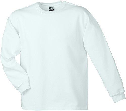 James & Nicholson Herren Round Sweat Open Hem Sweatshirt Weiß (White)