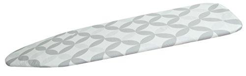 ZOLLNER® Bügeltischbezug / Bügelbrettbezug, Gummizug und Click-Verschluss zum Spannen, ca. 48x125 cm oder 48x140 cm, 100% Baumwolle, Komfortpolsterung ca. 6 mm, creme mit grauem Muster, Serie