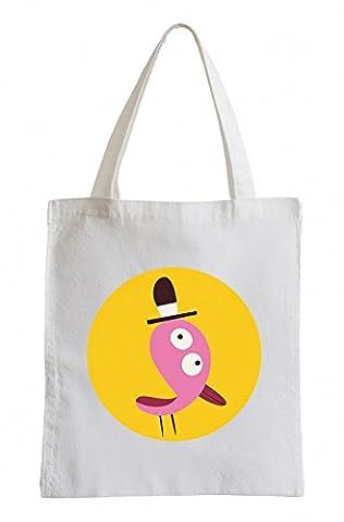 Raxxpurl Stranger oiseau rose avec un chapeau dans les cercles Fun sac de jute