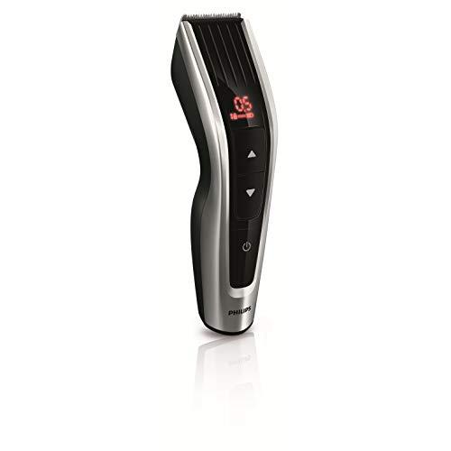 Philips HC7460/15 - Cortapelos con cuchillas de acero inoxidable, 3 peines-guía motorizados, con botones de c