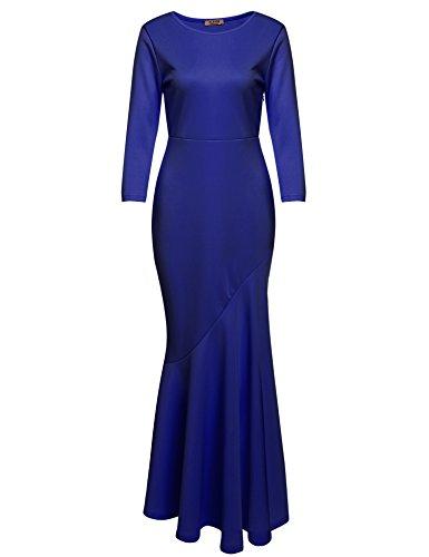 ACEVOG Damen Elegant 3/4 Arm Abendkleid Cocktailkleid Maxikleid Ballkleider Festkleider Lang Rundhals Fishtail Asymmetrisch Gr.S-XL Blau