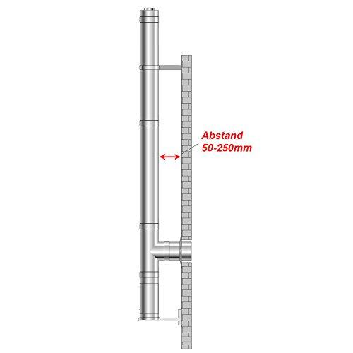 Preisvergleich Produktbild Edelstahlschornstein Schornstein Esse Ø 150mm 5,2m bis 250mm Abstand Wandkonsole
