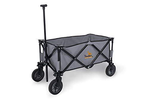 Pinolino Klappbollerwagen Porti, faltbar, mit Teleskopstange, Tragetasche und PU-Bereifung, Tragfähigkeit 50 kg, grau