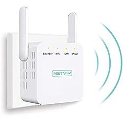 NETVIP Répéteur WiFi Wireless 300Mbps Internet Amplificateur de Signal sans Fil WiFi Répétiteur Booster Répéteur WiFi Mural Ampli, WiFi Extender, Format Prise Murale Ultra Compact
