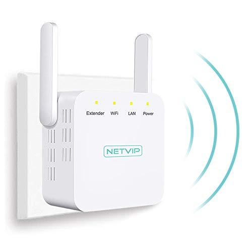 NETVIP WLAN Verstaerker N300 Wireless Signalverstärker WLAN Repeater (2 x Externe Antennen, LAN Port, EU Stecker) Thermal Design Compact Mini WLAN Verstärker kompatibel zu Allen gängigen WLAN Geräten