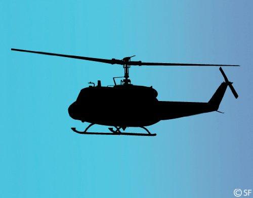 universumsum Wandtattoo Helicopter Bell 205 grau 40 x 15 cm uss448-40-070 Wandaufkleber Wandsticker Wandtattoo Kinderzimmer selbstklebend (070 Bell)