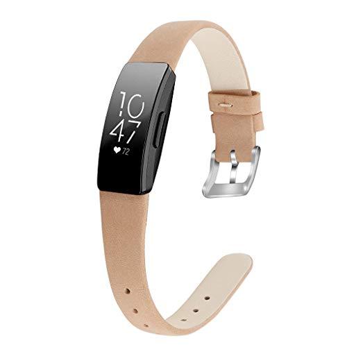 Waotier für Fitbit Inspire HR Armband Größe S Leder Armband Kompatibel für Fitbit Inspire Armband und für Fitbit Inspire HR mit Edelstahl Verschluss für Fitbit Inspire HR Sportuhr Armbänder (Khaki)
