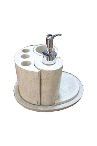 Badset 5-teilig mit Seifenspender, Zahnglas und Zahnbürstenhalter in Beige aus Onyx Marmor. Badset ist ein handgemachtes Unikat von Künstlern aus der Onyx Art Manufaktur in Mexiko