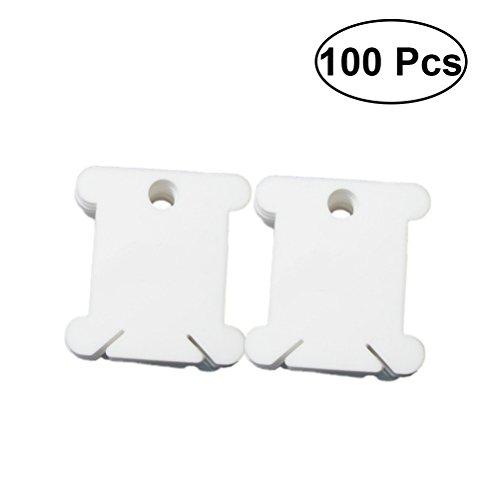 Healifty Kunststoff Spulen Stickgarn Karten Kreuzstich Veranstalter Handwerk DIY Nähen Lagerung 100 Stück (Weiß)