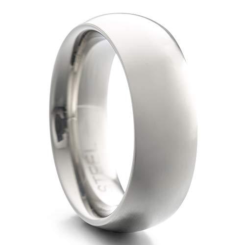 Heideman Ring Damen und Herren Paari aus Edelstahl silber farben poliert oder matt Damenring für Frauen und Männer Partnerringe 7mm breit schmaler gewölbter Ring silberfarben poliert Gr.62 hr7030-3-62