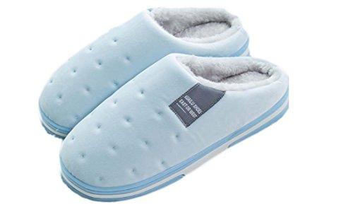 Pantoufles De Coton Unisexe - Pantoufles D'intérieur Antidérapant Coton - Pantoufles De Bain D'hiver Rembourrage Respirant Et Doux Pour Hommes Et Femmes Bleu