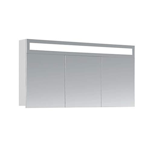 *HAPA Design Spiegelschrank Miami weiß mit LED Beleuchtung in Lichtfarbe 4500K, VDE Steckdose, Softclose Funktion und verstellbaren Glas Ablagen. Komplett vormontiert. SGS geprüft. (120 x 60 x 14 cm)*